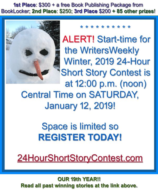 LAST CHANCE! THIS SATURDAY!! What will the Winter, 2019 24-Hour Short Story Contest Topic Be?!?!